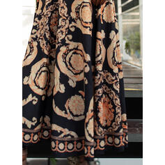 Print Long Sleeves A-line Wrap/Skater Vintage/Party Maxi Dresses