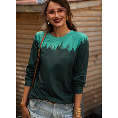Print Color Block Forest Round Neck Long Sleeves Casual Knit T-shirts