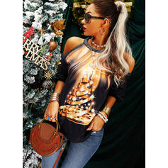 Print Sequins Cold Shoulder Long Sleeves Casual Christmas Blouses