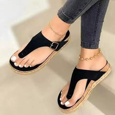 Women's PU Flat Heel Platform Peep Toe Flip-Flops Slippers With Hollow-out Solid Color shoes
