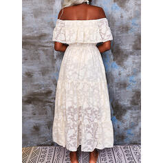 Lace/Solid/Backless 1/2 Sleeves A-line Skater Casual/Vacation Maxi Dresses