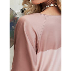 Print Color Block Figure V-Neck Long Sleeves Casual T-shirts