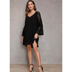 Lace/Solid Long Sleeves/Flare Sleeves Shift Above Knee Little Black/Casual/Elegant Tunic Dresses