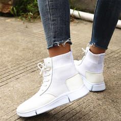 Women's PU Low Heel Boots With Lace-up Solid Color shoes