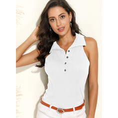 Solid Lapel Sleeveless Button Up Sexy Knit Tank Tops