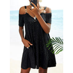 Print Short Sleeves Shift Above Knee Casual Tunic Dresses