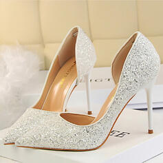 Sparkling Glitter Stiletto Heel Closed Toe Pumps With Others
