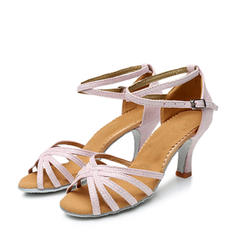 Women's Latin Heels Sandals Leatherette Sparkling Glitter With Ankle Strap Latin