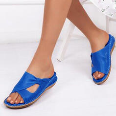 Women's Leatherette Wedge Heel Sandals Flats Flip-Flops With Buckle Hollow-out shoes