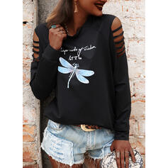 Animal Print Letter Cold Shoulder Long Sleeves Casual Blouses