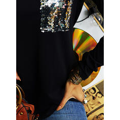 Sequins Cold Shoulder Long Sleeves Casual Blouses