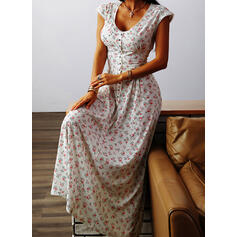 Print/Floral Cap Sleeve A-line Skater Casual/Vacation Midi Dresses