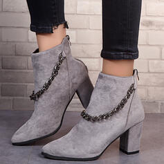 Women's Leatherette Chunky Heel Ankle Boots Pointed Toe With Zipper Chain shoes