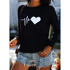 Print Heart Round Neck Long Sleeves Casual T-shirts