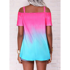 Gradient Cold Shoulder Short Sleeves Casual Blouses