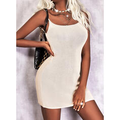 Solid Sleeveless Bodycon Above Knee Casual Slip Dresses