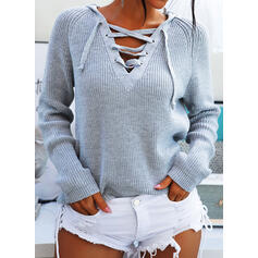 Solid Ribbed Hooded Casual Sweaters