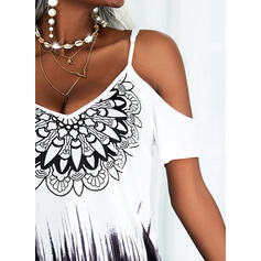Print/Gradient Short Sleeves Shift Above Knee Casual/Vacation Tunic Dresses