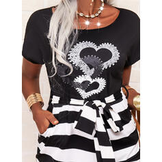 Print/Striped/Heart Short Sleeves Bodycon Knee Length Casual Dresses