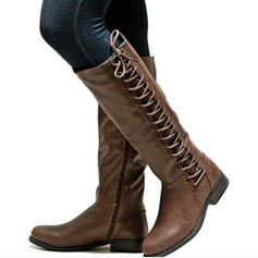 Women's PU Chunky Heel Knee High Boots With Zipper Lace-up shoes