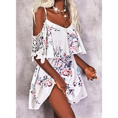 Print/Floral 1/2 Sleeves A-line Above Knee Casual/Vacation Skater Dresses