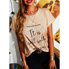 Print Letter Round Neck Short Sleeves Casual T-shirts
