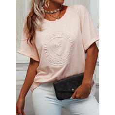 Figure Heart Round Neck Short Sleeves T-shirts