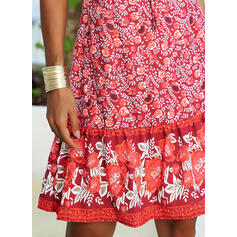 Print Short Sleeves A-line Knee Length Casual/Boho/Vacation Skater Dresses