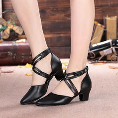 Women's Ballroom Character Shoes Heels Sandals Microfiber Leather With Buckle Hollow-out Latin