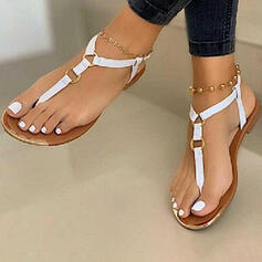 Women's PU Flat Heel Sandals Flats Peep Toe Flip-Flops With Buckle shoes