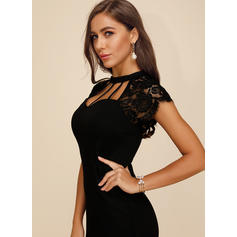 Lace/Solid Short Sleeves Bodycon Knee Length Little Black/Sexy/Party Pencil Dresses