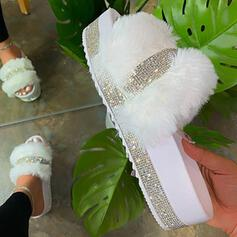 Women's Leatherette Sparkling Glitter Flat Heel Sandals Slippers With Rhinestone Faux-Fur shoes
