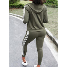 Striped Casual Sporty Plus Size Pants Two-Piece Outfits