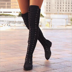Women's PU Flat Heel Flats Closed Toe Boots Over The Knee Boots With Lace-up shoes