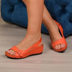 Women's PU Wedge Heel Sandals Peep Toe Slingbacks With Buckle Hollow-out shoes
