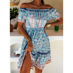 Print Short Sleeves A-line Above Knee Casual/Boho/Vacation Dresses