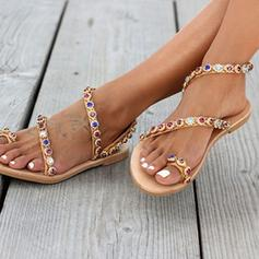 Women's Sparkling Glitter Flat Heel Sandals Peep Toe With Rhinestone shoes