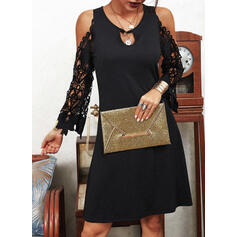 Lace/Solid Long Sleeves Sheath Above Knee Little Black/Elegant/Vacation Dresses