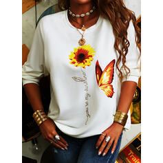 Animal Print Sunflower Print Round Neck Long Sleeves Casual T-shirts