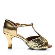 Women's Latin Heels Sandals Leatherette Sparkling Glitter With T-Strap Hollow-out Latin