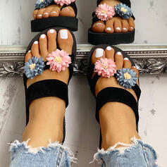 Women's EVA Wedge Heel Sandals Slippers Toe Ring With Flower shoes