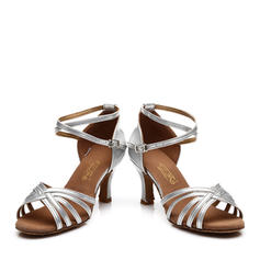 Women's Latin Heels Sandals Satin Leatherette With Ankle Strap Hollow-out Latin