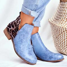 Women's PU Low Heel Ankle Boots With Animal Print shoes