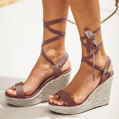 Women's PU Wedge Heel Sandals Peep Toe With Lace-up shoes