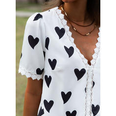 Print Lace Heart V-Neck Short Sleeves Casual Blouses