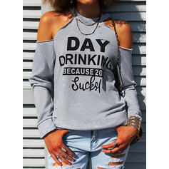Print Letter Cold Shoulder Long Sleeves Casual Blouses