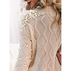 Solid Beaded Crew Neck Casual Sweater Dress