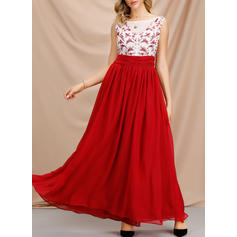 Solid Sleeveless A-line Christmas/Party Maxi Dresses