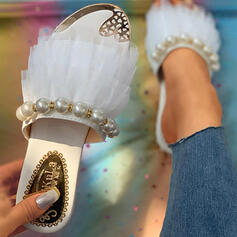 Women's Lace Chunky Heel Sandals Peep Toe Slippers With Imitation Pearl shoes