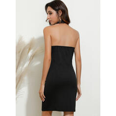 Solid Sleeveless Bodycon Above Knee Sexy/Casual Dresses